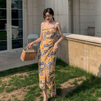 Dress Summer 2020 Decor S,M,L,XL longuette singleton  Sleeveless commute One word collar High waist Decor A-line skirt other camisole 18-24 years old Type A printing other