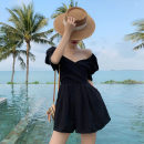 Casual pants black S,M,L,XL Summer 2020 shorts Jumpsuit High waist routine Other / other
