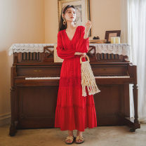 Dress Autumn 2020 Red, white S,M,L longuette singleton  Nine point sleeve commute V-neck High waist Solid color Single breasted Big swing bishop sleeve Others Type A ethnic style Stitching, lace