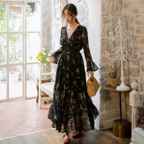 Dress Summer of 2019 Decor S,M,L,XL longuette singleton  Long sleeves commute V-neck High waist Decor Socket Big swing Petal sleeve Others 25-29 years old Type A Other / other Korean version Ruffle, print Chiffon