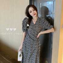 Dress Summer 2020 Black, brown Average size longuette singleton  Short sleeve commute V-neck High waist Decor other A-line skirt puff sleeve Others Type A Korean version Lace up, printed