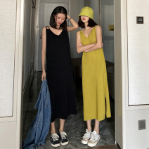 Dress Summer 2020 Black, yellowish green Average size longuette singleton  Sleeveless commute V-neck Loose waist Solid color Socket A-line skirt other camisole 25-29 years old Type A Other / other Korean version Open back, split