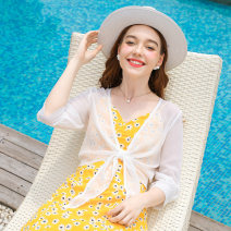 Lace / Chiffon Summer 2020 white S M L XL three quarter sleeve commute Cardigan singleton  Straight cylinder Regular V-neck Solid color routine 25-29 years old Lucky e DC20-92296 Asymmetry Simplicity Polyester 100% Pure e-commerce (online only)