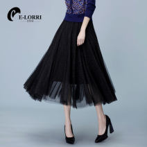 skirt Winter 2020 M L Navy Black longuette commute High waist Pleated skirt Solid color Type A 25-29 years old S9308 More than 95% Lace E-Lorri polyester fiber Gauze Polyester 100%