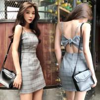 Dress Summer 2021 Grey grid S,M,L Short skirt singleton  Sleeveless commute V-neck High waist lattice Socket One pace skirt other camisole 18-24 years old Other / other Korean version