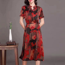 Dress Spring 2021 Xiangyunsha dress red xiangyunsha dress blue L XL XXL 3XL longuette singleton  Short sleeve commute V-neck Loose waist other Socket A-line skirt routine Others 40-49 years old Type A Suobado / sorbado literature Lace up button A1SBB9935 More than 95% Silk and satin silk