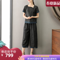 Fashion suit Summer 2021 L XL XXL 3XL 4XL Xiangyunsha suit 2137 black flower Over 35 years old Suobado / sorbado A1SMGFR2137 96% and above silk Mulberry silk 100% Pure e-commerce (online only)