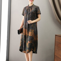 Dress Spring 2021 L XL XXL 3XL 4XL longuette singleton  Short sleeve commute other Loose waist Decor other A-line skirt routine Others 35-39 years old Type A Suobado / sorbado Retro A1STYR5593 More than 95% Silk and satin silk Mulberry silk 100% Pure e-commerce (online only)