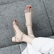 Sandals 34,35,36,37,38,39 White, black, pink PU Other / other Barefoot Thick heel Middle heel (3-5cm) Summer 2021 Flat buckle Korean version Solid color Adhesive shoes Youth (18-40 years old), general rubber daily Back space Buckles, rivets, thick heels Low Gang Hollow PU PU Flat buckle Shaving