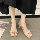 Sandals 34,35,36,37,38,39 PU Other / other Barefoot Thick heel High heel (5-8cm) Summer 2021 Flat buckle Korean version Solid color Adhesive shoes Youth (18-40 years old) rubber daily Ankle strap Low Gang Hollow PU PU Flat buckle
