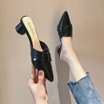 slipper 35,36,37,38,39,40 Other / other Off white, black, yellow, green Thick heel Middle heel (3-5cm) PU Summer 2021 Baotou rubber daily Korean version Adhesive shoes Youth (18-40 years old), general Solid color Shallow mouth, thick heel PU PU Shaving