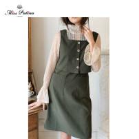 Vest sling Spring 2020 Dark dark green XS S M L XL Medium length straps Solid color 81% (inclusive) - 90% (inclusive) polyester fiber Miss.Patina Polyester 90% polyamide 10%