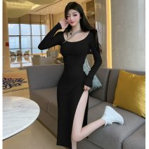 Dress Spring 2021 Light green, black S,M,L Mid length dress singleton  Long sleeves commute Crew neck High waist Solid color Socket One pace skirt routine 18-24 years old Type H Korean version Splicing polyester fiber