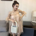 Dress Autumn of 2019 Apricot S,M,L Short skirt singleton  commute One word collar High waist Socket Breast wrapping Other / other
