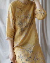 Dress Summer 2020 Single cheongsam, cheongsam + Cotton Skirt Average size longuette three quarter sleeve commute middle-waisted Abstract pattern other Type H printing More than 95% other hemp