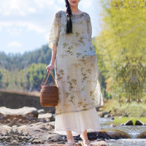 Dress Summer 2020 Average size Mid length dress singleton  elbow sleeve Crew neck Loose waist Decor Three buttons A-line skirt routine Others 30-34 years old printing other