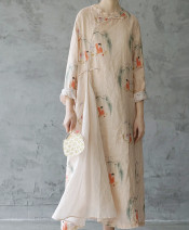 Dress Spring 2020 Idyllic, idyllic + Cotton Skirt Average size longuette singleton  three quarter sleeve commute stand collar character A button routine 25-29 years old Type H 31% (inclusive) - 50% (inclusive) other hemp