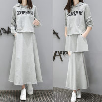 Dress Autumn 2020 S,M,L,XL,2XL,3XL,4XL longuette Two piece set Long sleeves Crew neck middle-waisted letter Socket A-line skirt routine Others Splicing 71% (inclusive) - 80% (inclusive) other polyester fiber