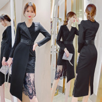 Dress Spring 2021 black S,M,L,XL,2XL,3XL Mid length dress singleton  Long sleeves commute V-neck High waist Solid color other A-line skirt routine Others 25-29 years old Type A MISS FLY PERSONAL TAILOR Korean version Lace, stitching, lace L92281 31% (inclusive) - 50% (inclusive) other other