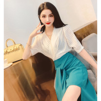 Lace / Chiffon Summer 2021 White, black, cherry blossom powder Average size Short sleeve commute Socket singleton  Self cultivation Regular other Solid color bishop sleeve 30-34 years old MISS FLY PERSONAL TAILOR Lace Korean version 31% (inclusive) - 50% (inclusive)