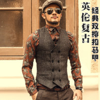 Vest / vest Youth fashion Mixlimited / men's Club S,M,L,XL,XXL,XXXL Charcoal, khaki, light grey Other leisure Super slim Vest thick autumn V-neck youth Simplicity in Europe and America M51 Solid color Single breasted