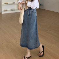 Women's large Spring 2021, autumn 2021 Denim skirt Large L, large XL, s, m, 2XL, 3XL, 4XL skirt singleton  commute moderate Solid color Korean version 18-24 years old 71% (inclusive) - 80% (inclusive) Medium length