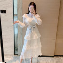 Dress Autumn 2020 white S,M,L longuette singleton  Long sleeves commute stand collar High waist Solid color zipper Cake skirt bishop sleeve Others 25-29 years old Type A Other / other lady bow HF10603