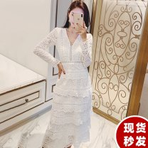Dress Spring of 2019 white S,M,L Mid length dress singleton  Long sleeves commute V-neck High waist Solid color zipper A-line skirt routine Type A Other / other Korean version Cut out, lace Lace