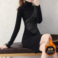Dress Winter of 2018 black S M L XL XXL Middle-skirt singleton  Long sleeves commute High collar middle-waisted Socket One pace skirt Others 30-34 years old Sarkaumee / sakami Korean version 51% (inclusive) - 70% (inclusive) polyester fiber Polyester 70% other 30% Exclusive payment of tmall