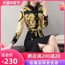 Dress Spring of 2019 Long sleeves S M L XL XXL Middle-skirt Long sleeves commute Doll Collar middle-waisted Socket One pace skirt 30-34 years old Sarkaumee / sakami Korean version Lace up zipper print 51% (inclusive) - 70% (inclusive) polyester fiber Polyester 70% other 30%