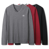 T-shirt Fashion City Grey red black routine XL 2XL 3XL 4XL 5XL 6XL 7XL Baodunwolf / baodunwolf Long sleeves V-neck easy Other leisure autumn Cotton 95% polyurethane elastic fiber (spandex) 5% Large size routine Youthful vigor Autumn 2020 Solid color cotton Pure e-commerce (online only)