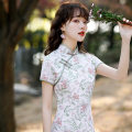 cheongsam Spring 2021 S,XL,L,M,XXL,XXXL White printing Short sleeve Qipao literature High slit Oblique lapel 18-25 years old The charm of shell other