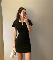 Dress Summer 2020 Lake blue, black S,M,L Short skirt Short sleeve commute Polo collar Loose waist Solid color 18-24 years old Korean version cotton