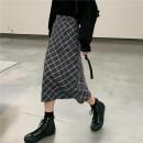 skirt Autumn 2020 S,M,L Green, Navy Mid length dress commute High waist Umbrella skirt lattice 30% and below polyester fiber Korean version
