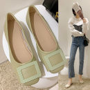 Low top shoes 35,36,37,38,39,40 Jie Shiqi Black, yellow, green, off white Square head PU Square heel Low heel (1-3cm) Shallow mouth PU Spring 2021 Trochanter Korean version Adhesive shoes Youth (18-40 years old) Solid color TPR (tendon) Single shoes daily Face dressing