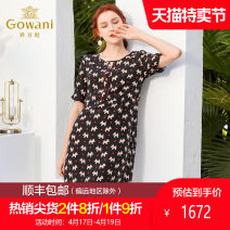 Dress Summer of 2019 black S M L XL XXL Mid length dress singleton  Short sleeve commute Crew neck middle-waisted Dot zipper other routine Others 40-49 years old Gowani / Giovanni Simplicity printing EN1E937501 91% (inclusive) - 95% (inclusive) other silk