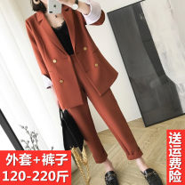 suit Spring 2020 Long sleeves Medium length easy tailored collar double-breasted commute routine Solid color 81% (inclusive) - 90% (inclusive) polyester fiber Pocket, button