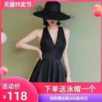 one piece  Beiyou products M (recommended 85-98 kg) l (recommended 98-110 kg) XL (recommended 110-125 kg) 2XL (recommended 125-140 kg) black Skirt one piece Steel strap breast pad Spandex polyester others Summer 2020 no female Sleeveless Casual swimsuit Solid color