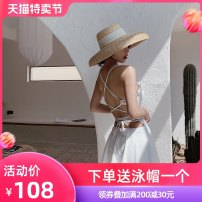 one piece  Xi Qi M L XL Skirt one piece Steel strap breast pad Nylon, spandex, polyester, others Summer of 2019 no female Sleeveless Casual swimsuit Solid color
