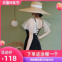 one piece  Beiyou products M (recommended 88-100 kg) l (recommended 100-118 kg) XL (recommended 118-128 kg) 2XL (recommended 128-150 kg) Black (toilet version) Skirt one piece With chest pad without steel support Nylon others Summer 2020 no female Sleeveless Casual swimsuit Solid color Bright silk