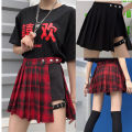 skirt Summer of 2019 M,L,XL,2XL,3XL,4XL Black, red Short skirt street High waist Pleated skirt lattice Type A other nylon Three dimensional decoration, tie dyeing, buttons, zippers, stitching Punk