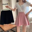 skirt Summer 2020 M,L,XL,2XL,3XL,4XL Black, pink Short skirt Versatile High waist Ruffle Skirt Solid color Type A Chiffon nylon Ruffle, zipper, stitching