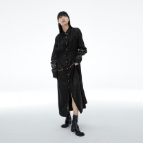Dress Autumn 2020 Black and white S M L Mid length dress singleton  Long sleeves commute stand collar middle-waisted Solid color Single breasted A-line skirt routine Others 25-29 years old Type A UEOO literature Embroidery fold D2052431L More than 95% polyester fiber Polyester 100%
