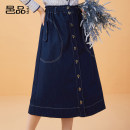 skirt Autumn 2020 S M L XL Denim blue Mid length dress commute High waist A-line skirt Solid color Type A 35-39 years old YP523743 51% (inclusive) - 70% (inclusive) Denim Yipin cotton Pocket button open line decorative stitching patch Simplicity Cotton 59.2% polyester 29.2% viscose 11.6%