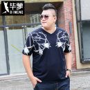 T-shirt Youth fashion navy blue thin 4XL 5XL 6XL 7XL 2XL 3XL Bimont Short sleeve V-neck Extra wide Other leisure summer T912 Cotton 95% polyurethane elastic fiber (spandex) 5% Large size routine tide Knitted fabric Summer of 2019 Geometric pattern printing cotton Geometric pattern Sanding