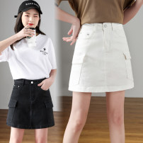 skirt Summer 2021 26, 27, 28, 29, 30, 31, 32, 33, 34, 36, 38, 40 Black, white commute High waist A-line skirt Solid color Type A More than 95% Denim Other / other cotton Pocket, button, zipper, thread decoration, stitching Korean version