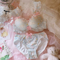 Bra Set  Other / other There are steel rings Briefs Detachable shoulder strap low-waisted Top thin bottom thick mould cup 3/4 lovely M,L,XL U-shaped Rear three row buckle Gather together Young women Cotton pad Cartoon animation printing cotton cotton nylon Sponge