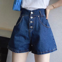 Casual pants blue S M L XL XXL Spring 2021 shorts Wide leg pants High waist commute routine 18-24 years old Angel love Korean version Other 100% Pure e-commerce (online only)
