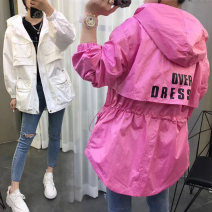 Windbreaker Summer of 2019 S M L XL Black White 7 days hair rose red 7 days hair Long sleeves routine Medium length zipper Hood routine letter Self cultivation Angel love T19CU1157 25-29 years old Zipper with hood pocket 96% and above other Other 100% Pure e-commerce (online only)