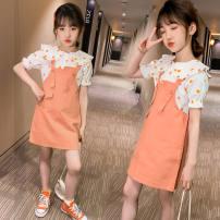 Dress Orange suit, green suit, single orange strap skirt, single green strap skirt, single coat orange, single coat green female Other / other 110cm,120cm,130cm,140cm,150cm,160cm Other 100% summer Korean version Skirt / vest Solid color cotton Strapless skirt